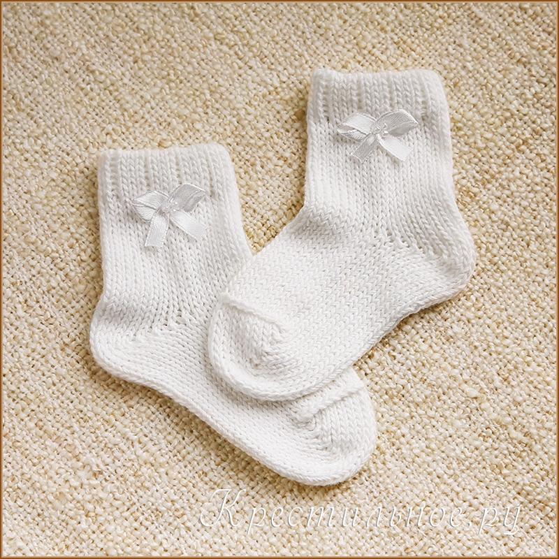 вязаные носочки для малыша на выписку