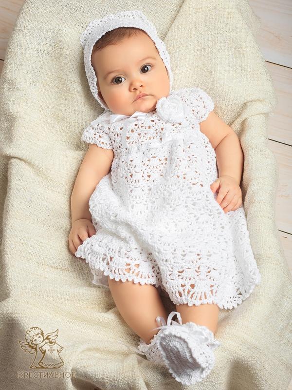 Белое платье на новорожденную
