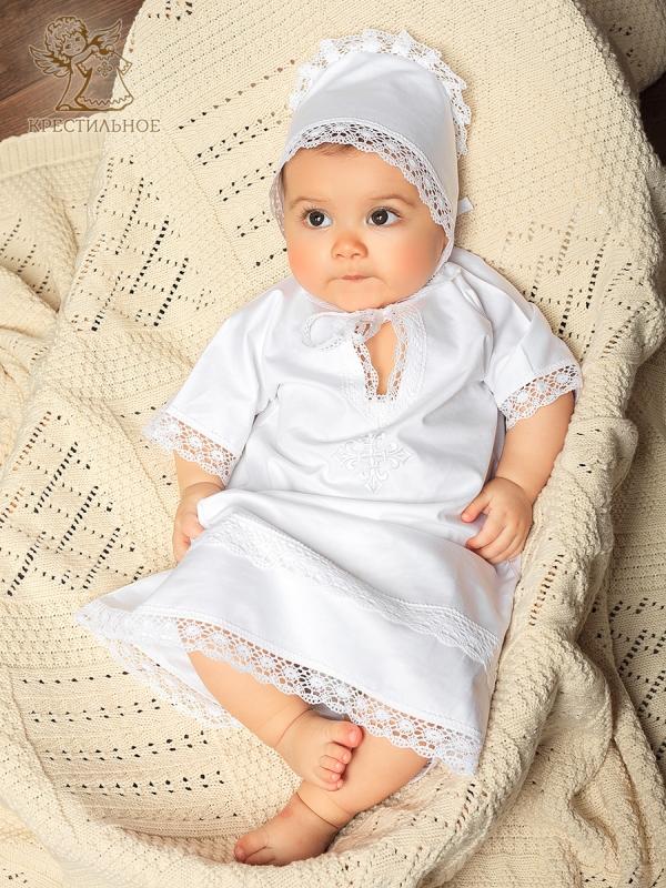 рубашка для крещения с белой вышивкой