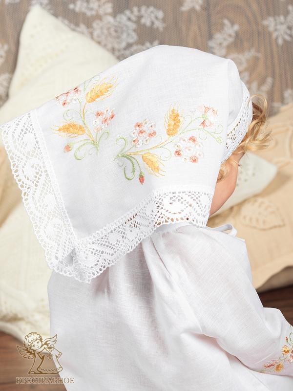 косынка для девочки с цветочной вышивкой