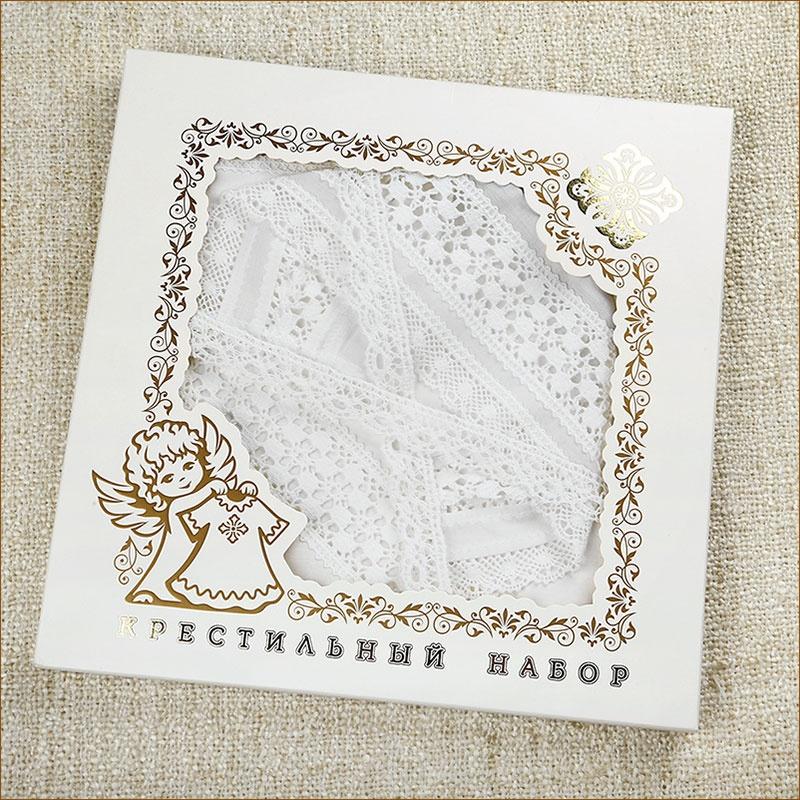 коробка-конверт для крестильного набора с пеленкой