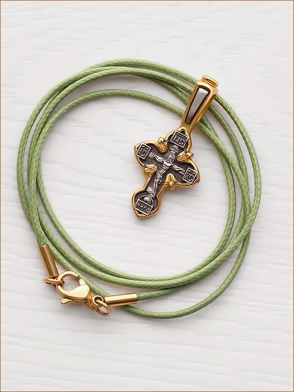 крестик серебро с позолотой 08013 и гайтан с позолоченной застежкой