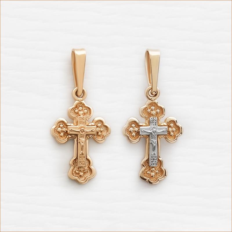 маленький золотой крестик из красного и комбинированного золота арт.10006