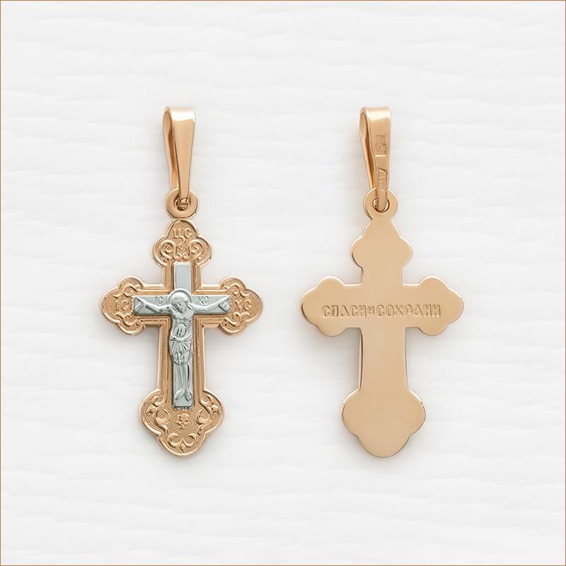 крестик из красного и белого золота арт.10223