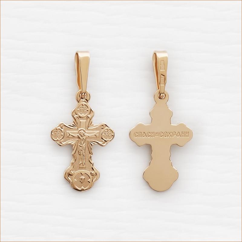 золотой крестик для крещения ребенка арт.10270