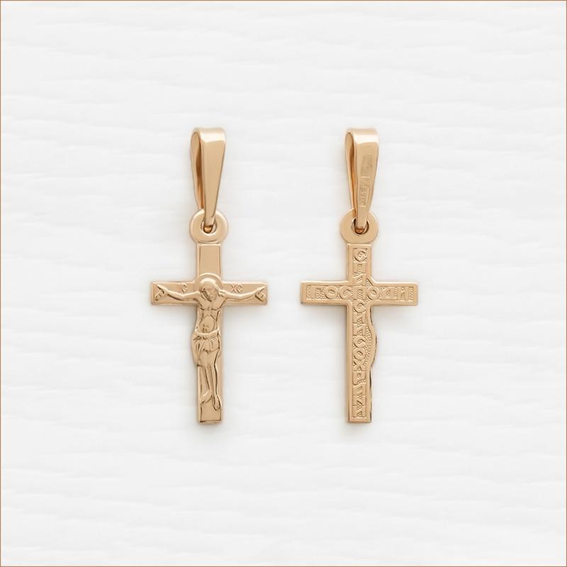 маленький золотой крестик классической формы арт.11987