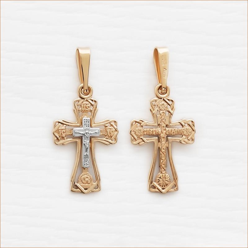 легкий золотой крестик недорогой арт.11997