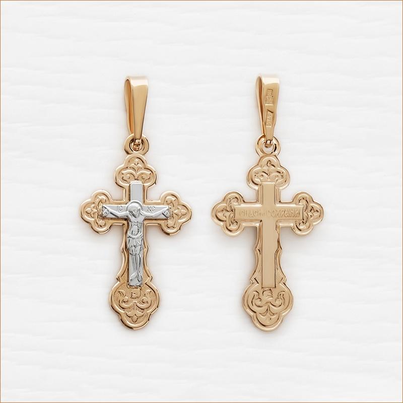 округлый крестик из красного и белого золота арт.11991