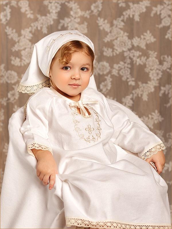 теплая рубашка для крещения девочки модель людмила