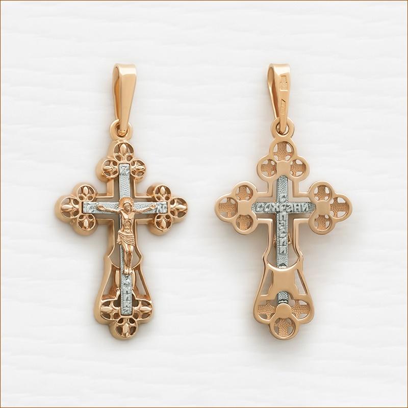 золотой крест среднего размера православный арт.12134