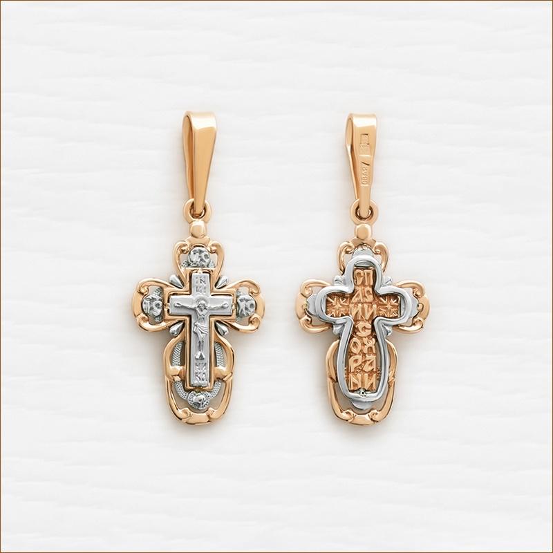 золотой крестик аквамарин артикул 12154