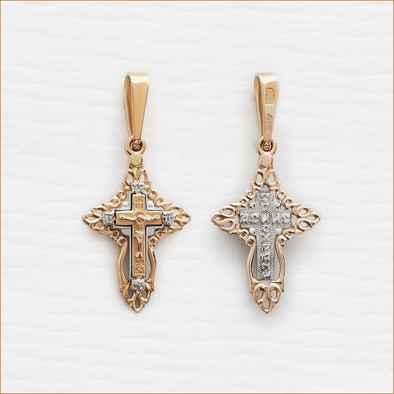 золотой крестик тройного комбинирования арт.12151