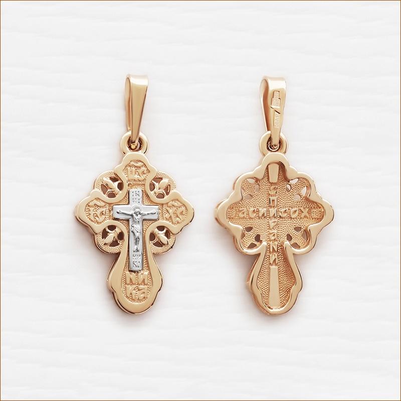 округлый крест из комбинированного золота арт.12186