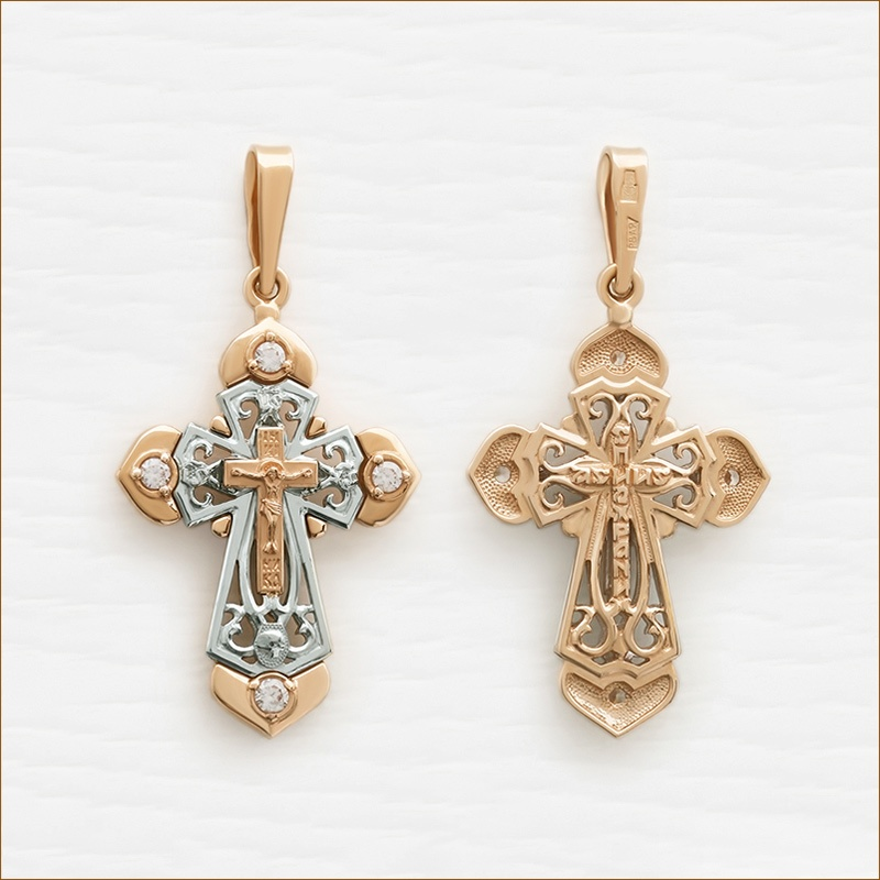 красивый крестик из золота для женщины арт.20733