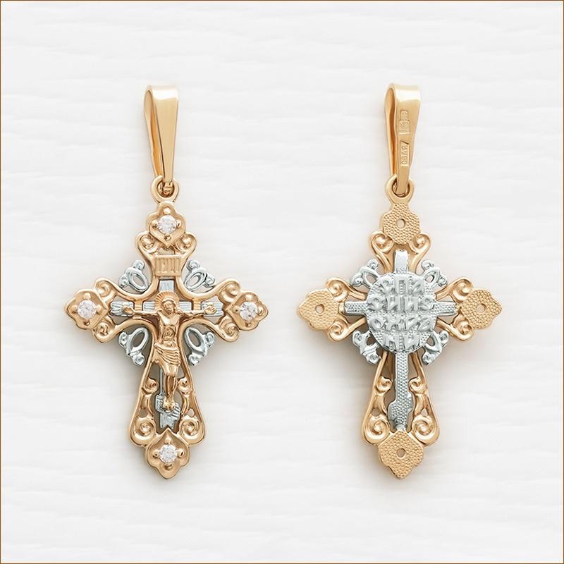 красивый золотой крестик для женщины или девушки арт.20798