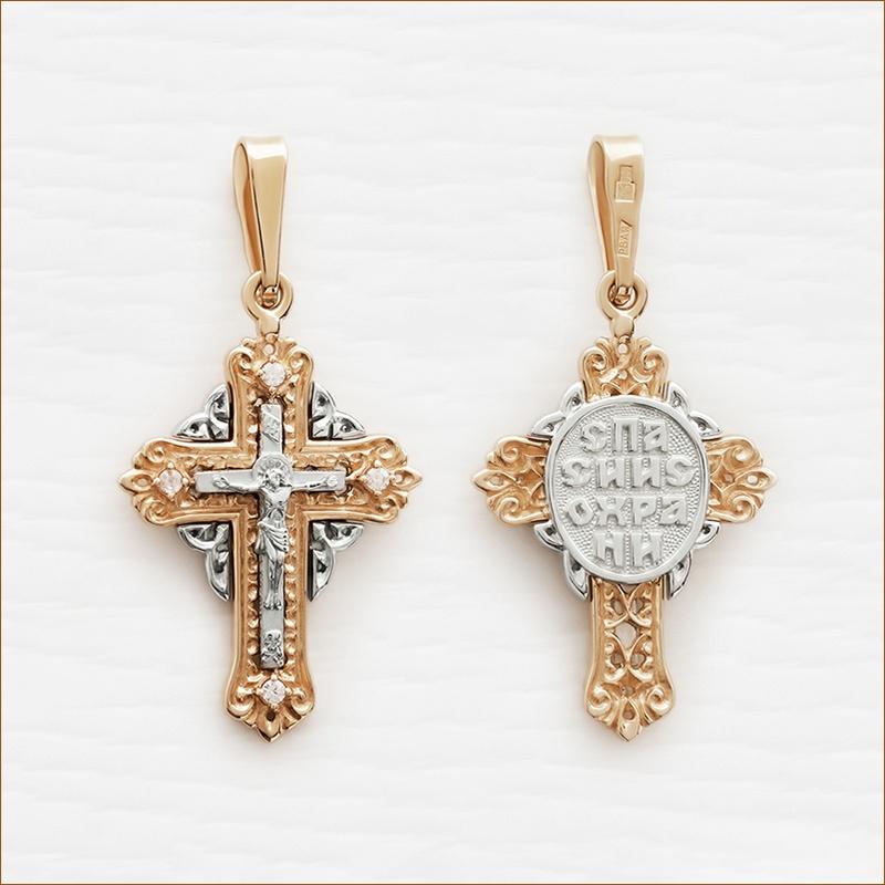 золотой крестик с фианитами арт.20786