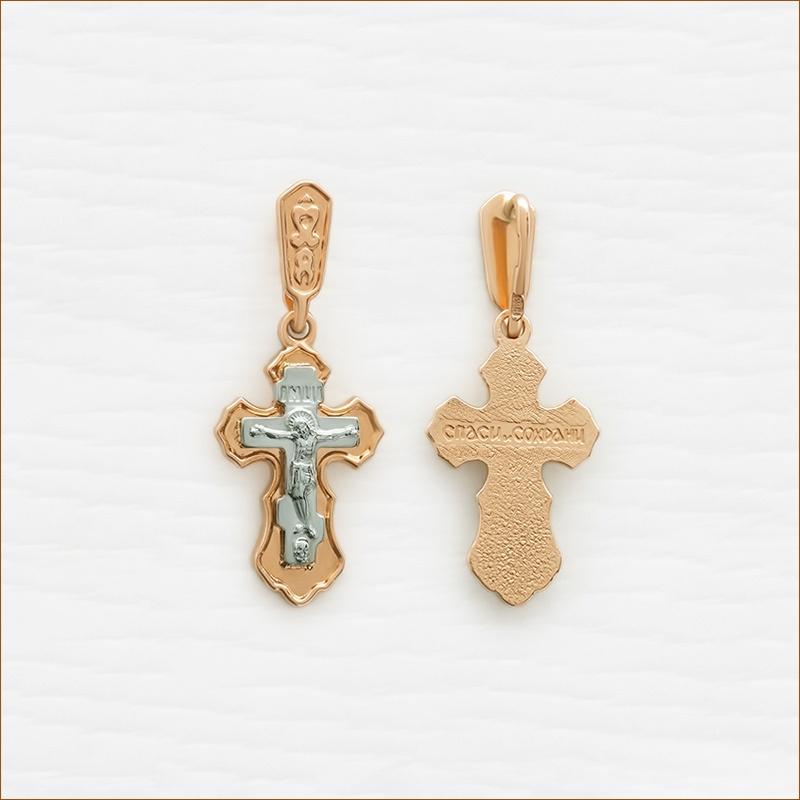 золотой крестик для крещения ребенка арт.35213