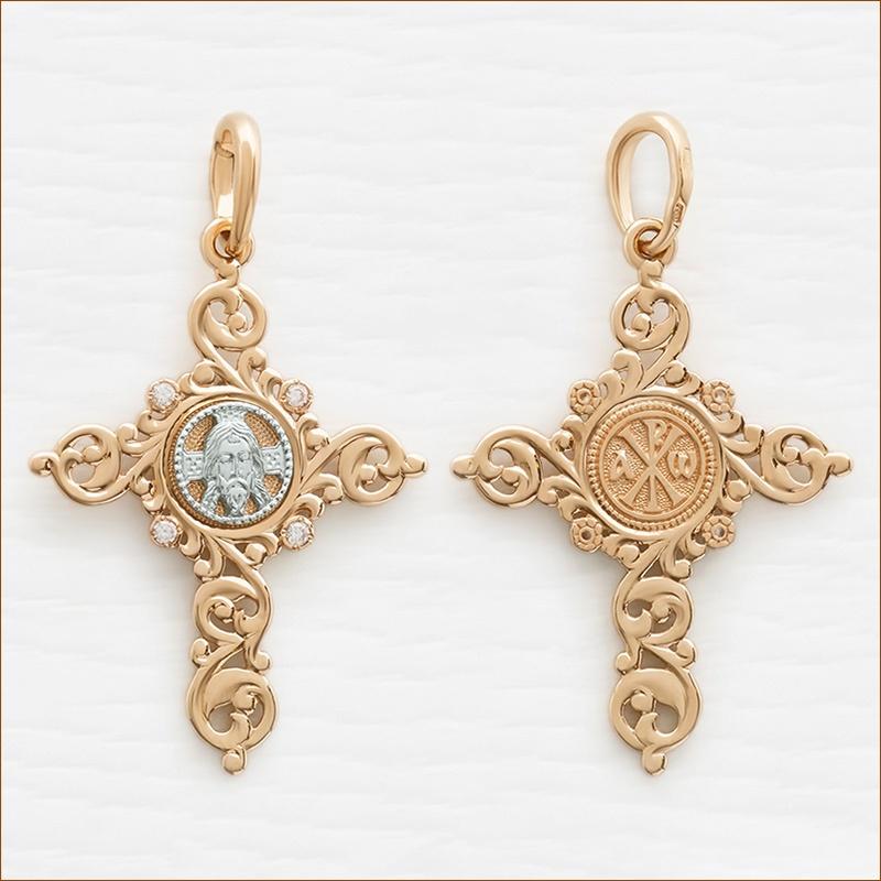 мужской крест из золота со Спасом и фианитами