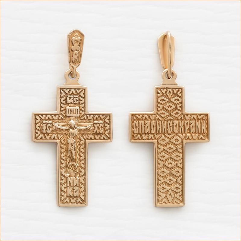 православный крест из красного золота, арт.3524