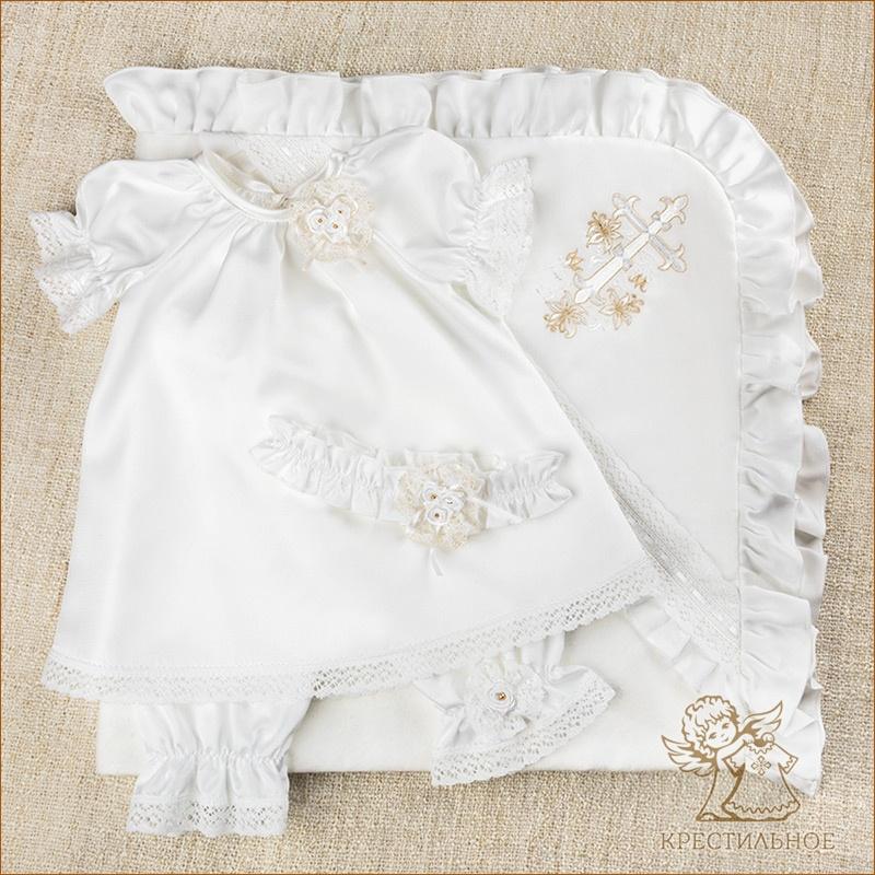 крестильный шелковый набор Ангелина с повязкой