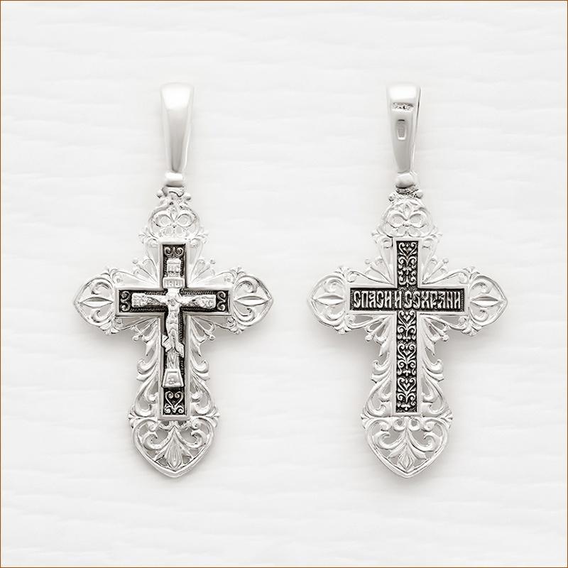 ажурный серебряный крест с чернением арт.03040