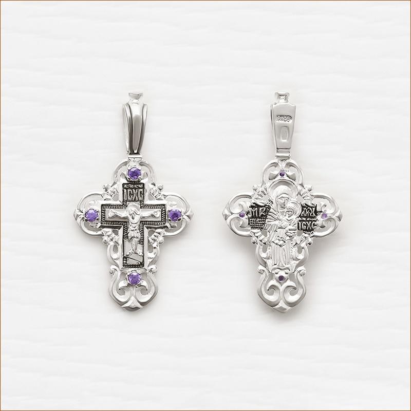 серебряный крестик арт.03076 с фианитами