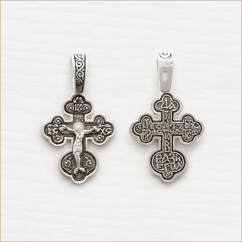 крестик округлый из серебра с чернением арт.03078