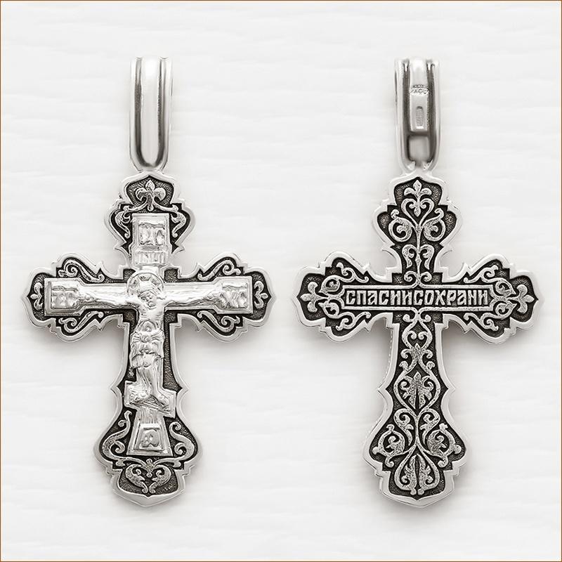серебряный крестик мужской 03207