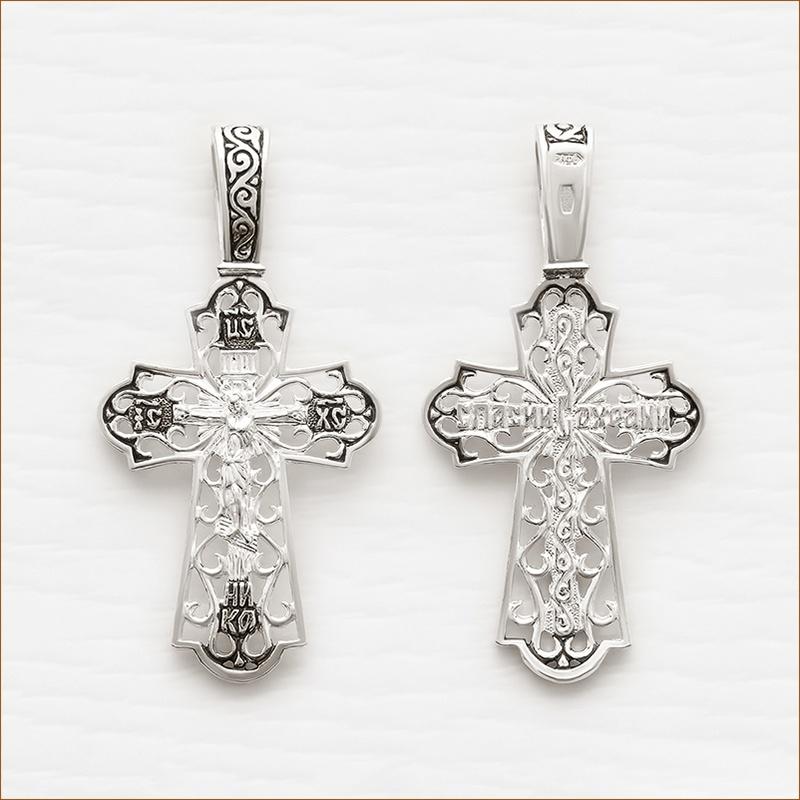 средний ажурный серебряный крест арт.03226