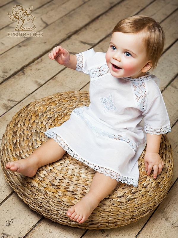 крестильная рубашка для мальчика с вышитым крестиком