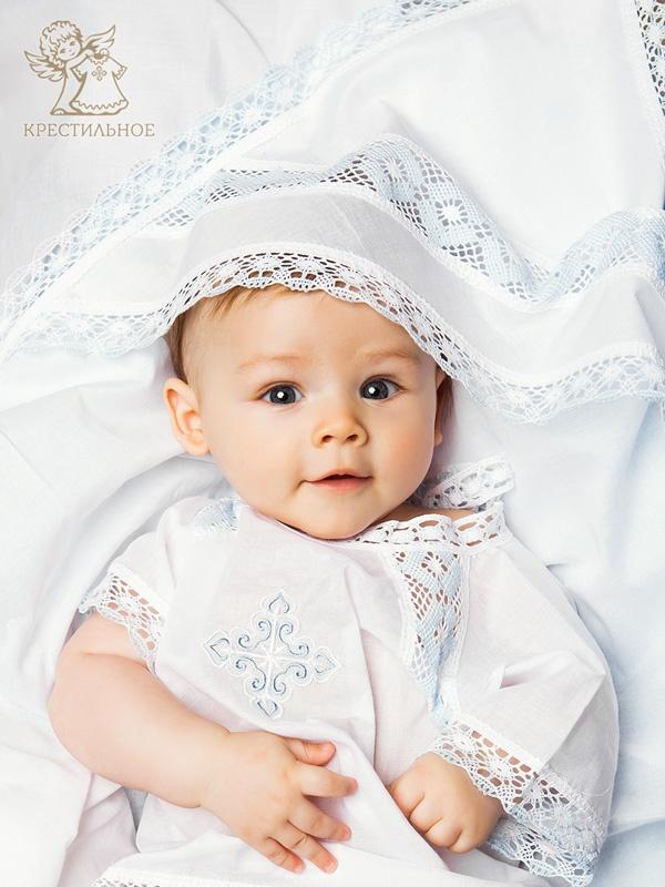 крестильная рубашка и пеленка с капюшоном
