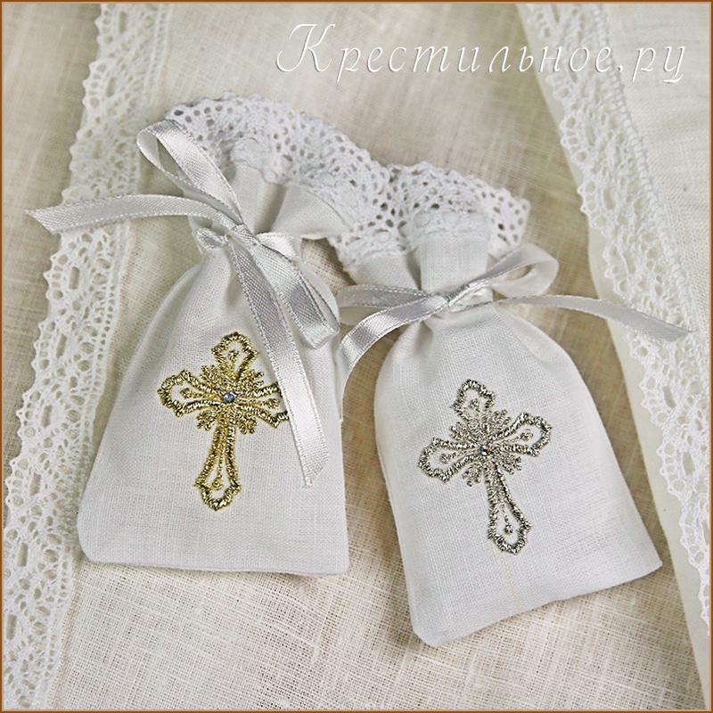 льняной мешочек для крестика