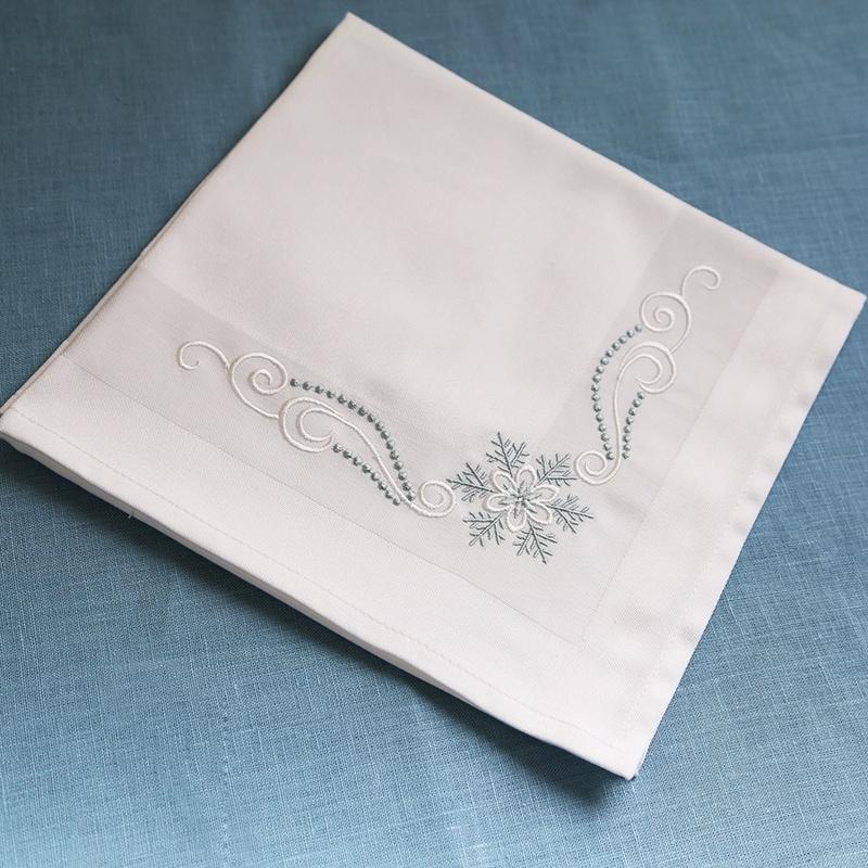 новогодняя салфетка с вышивкой