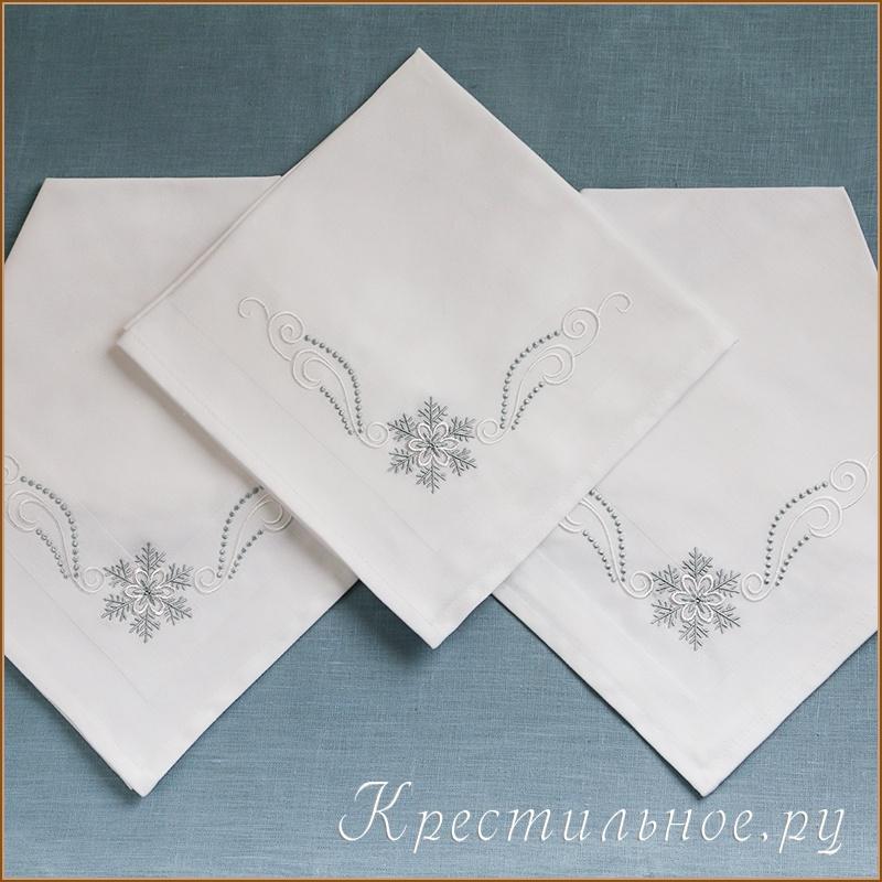 новогодняя салфетка вышивка снежинки