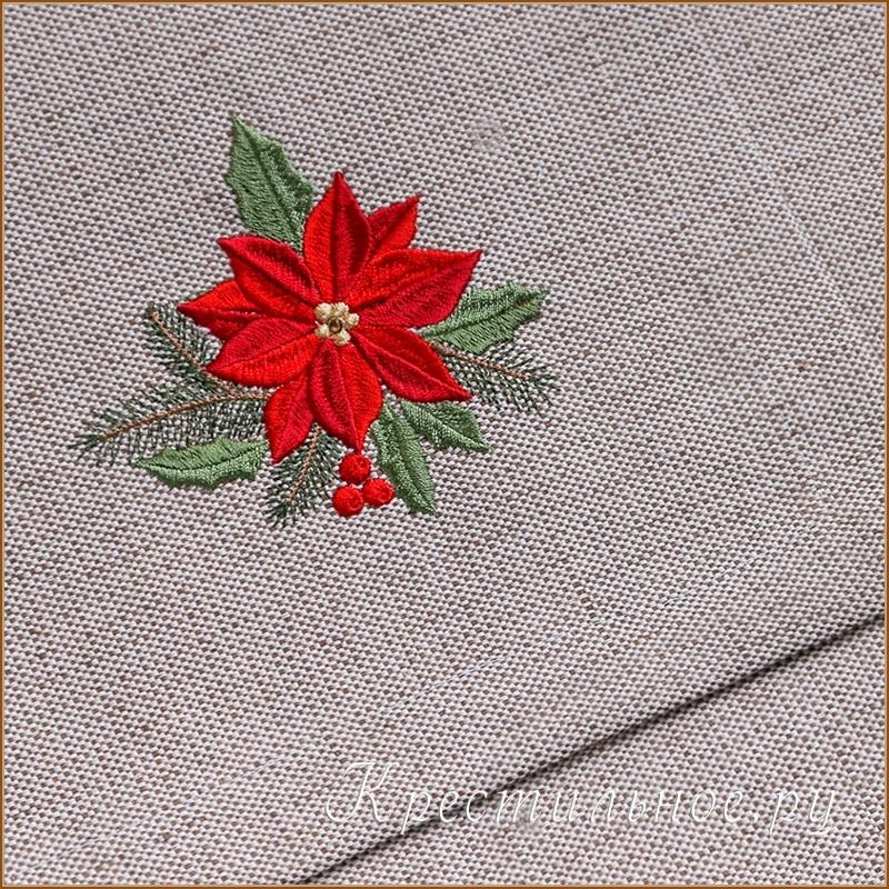 салфетка с рождественской вышивкой