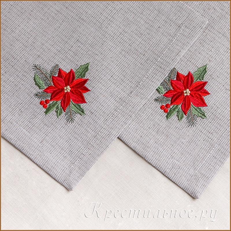 плейсмат с рождественской вышивкой