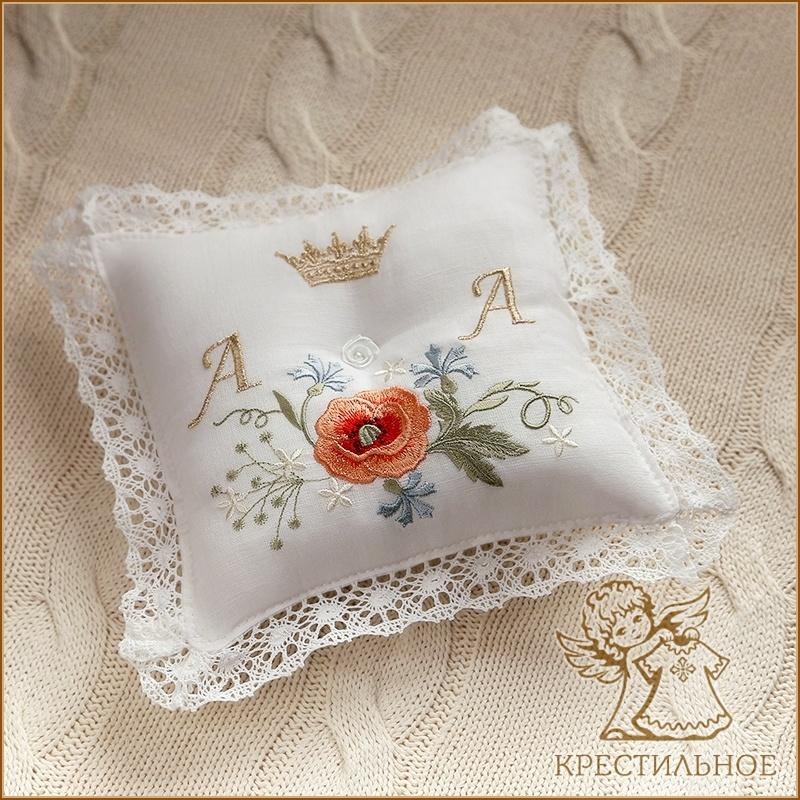 подушечка для колец венчальная с инициалами