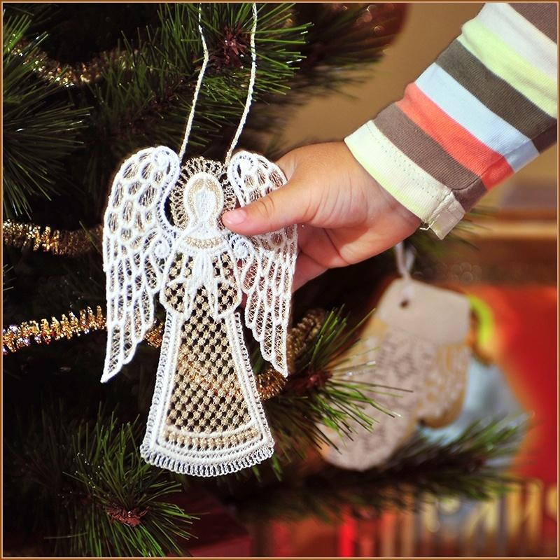 подвеска на елку кружевной ангел