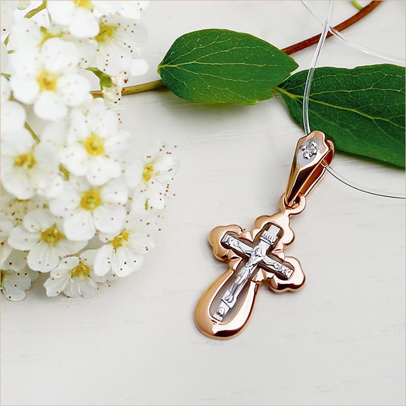 золотой крестик SOKOLOV с бриллиантами для крещения ребенка