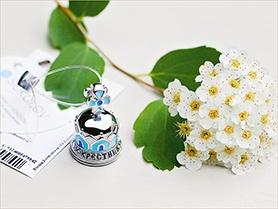 серебряный колокольчик для крестника с голубой эмалью