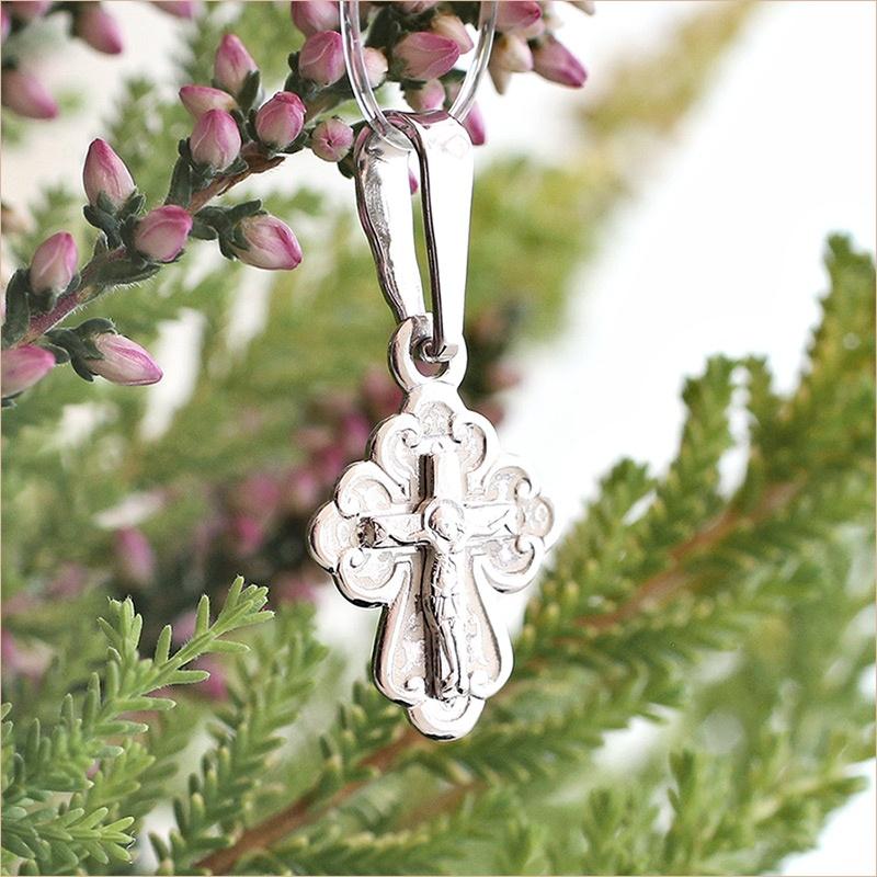 маленький детский серебряный крестик арт.10206 с округлыми окончаниями
