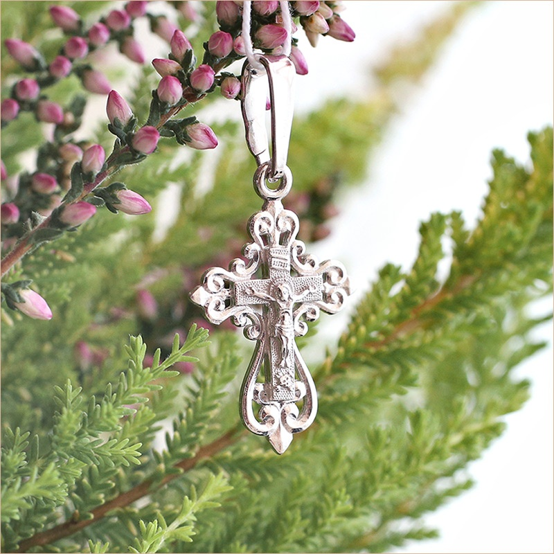 маленький серебряный крестик для ребенка арт.11964