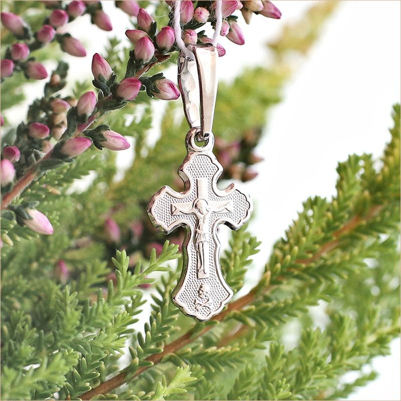 крестик из серебра арт.11201 плоский с округлыми окончаниями