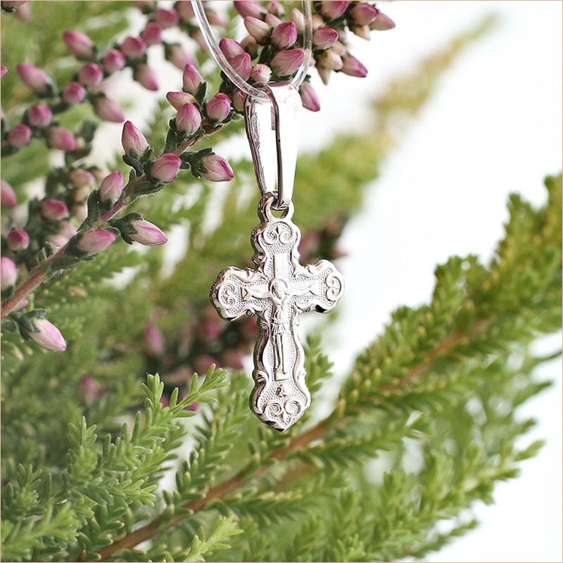 крестик из серебра арт.11202 плоский с округлыми окончаниями