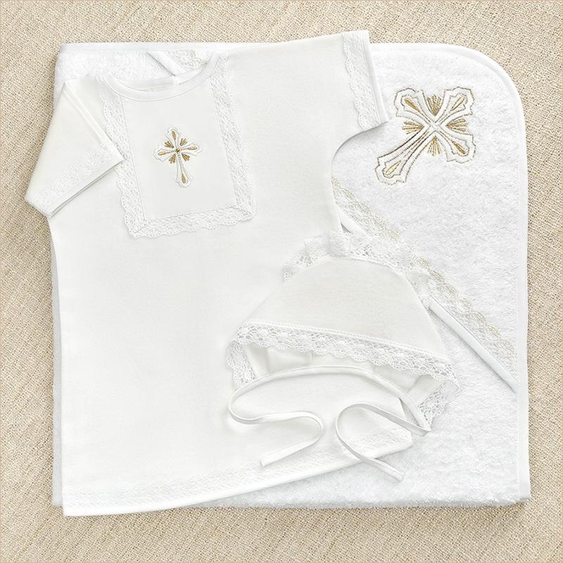 Крестильный набор для ребенка: рубашка, махровый уголок и чепчик