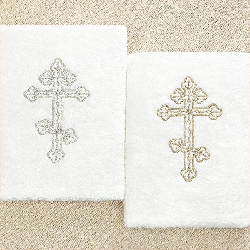 крестильное полотенце с вышитым православным крестом