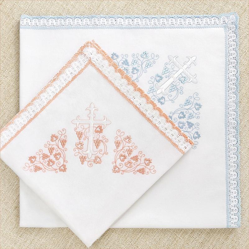 теплая пеленка с цветным кружевом для крещения девочки и мальчика