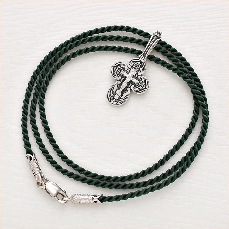 темный зеленый шелковый шнурк для крестика с замком из серебра