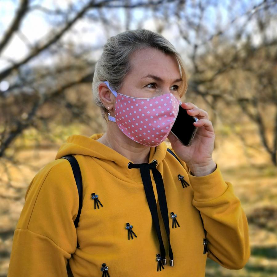 """Женская многоразовая тканевая маска """"Горошки"""""""