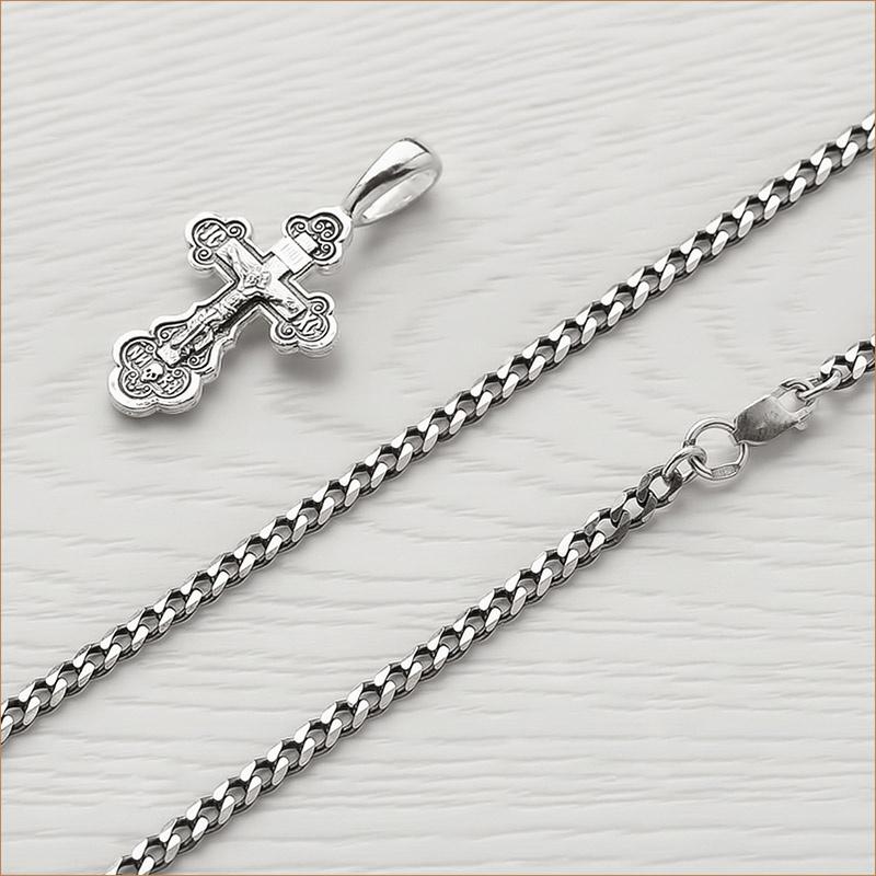 серебряная цепочка ПГ 0,8Ч с чернением